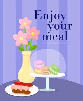 Cafetaria geserveerd table cartoon vectorillustratie