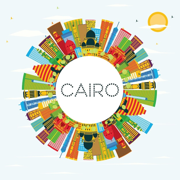 Caïro egypte city skyline met kleur gebouwen, blauwe lucht en kopie ruimte. zakelijk reizen en toerisme concept met historische gebouwen. caïro stadsgezicht met monumenten. Premium Vector