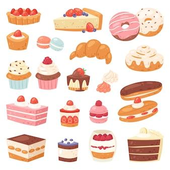 Cake chocolade suikerwerk cupcake en zoet gebak dessert met aangekoekte snoepjes illustratie geconfecteerde donut met chococream en snoep in bakkerij set geïsoleerd op witte achtergrond
