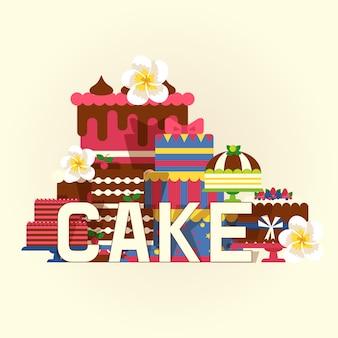 Cake illustratie. chocolade en fruitige desserts, smakelijke cupcakes, cakes, pudding, koekjes, slagroom, glazuur en hagelslag.