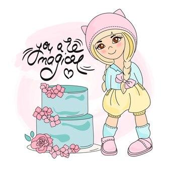 Cake meisje kleur vector illustratie set
