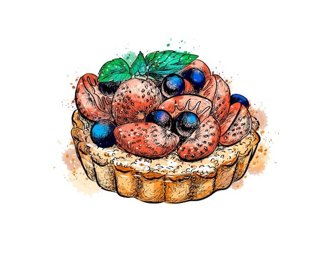 Cake met aardbeien uit een scheutje aquarel, hand getrokken schets. illustratie van verven
