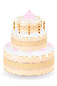 Cake met brandende kaarsen vectorillustratie