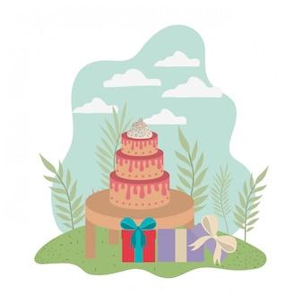 Cake op houten tafel van gelukkige verjaardag