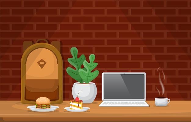 Cake plant kopje koffie op tafel cafe restaurant illustratie