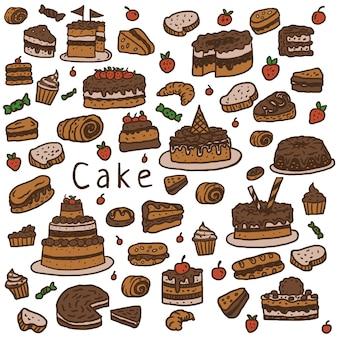 Cakepatroon, hand getrokken lijn met digitale kleur, vectorillustratie
