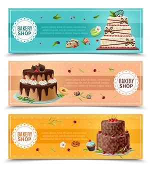 Cakes banners set