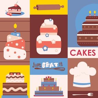 Cakes collage kleurrijke stickers in vlakke stijl