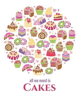 Cakes embleem. rond gevormd, cupcake en bak, smakelijk en gebak. vector illustratie