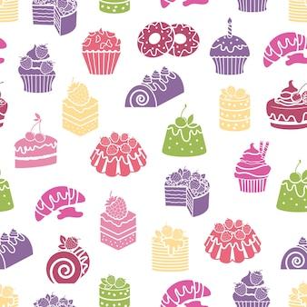Cakes en snoep naadloze patroon achtergrond. dessert en eten, room en bakkerij, vectorillustratie