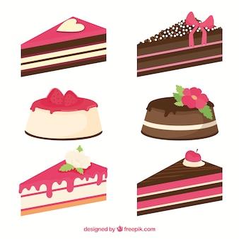 Cakes en zoetighedencollectie in vlakke stijl