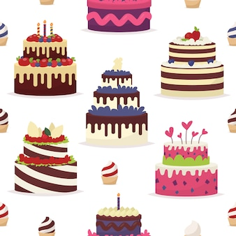 Cakes op een witte achtergrond. naadloos patroon in de stijl