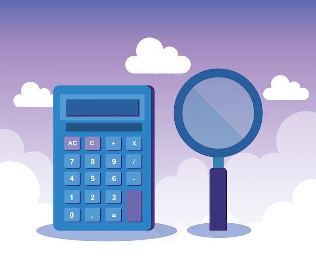 Calculator rapport financiën met vergrootglas