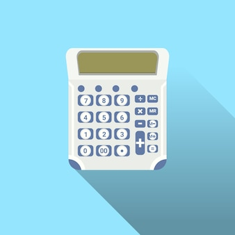 Calculatorpictogram met schaduw op blauwe achtergrond