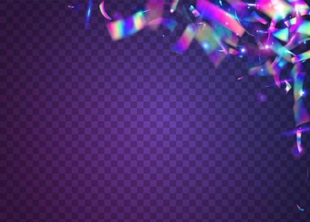 Caleidoscoop-effect. neonachtergrond. paarse metalen schitteringen. iriserende confetti. retro carnaval-decoratie. eenhoorn kunst. laserburst. webpunk folie. violet caleidoscoop-effect