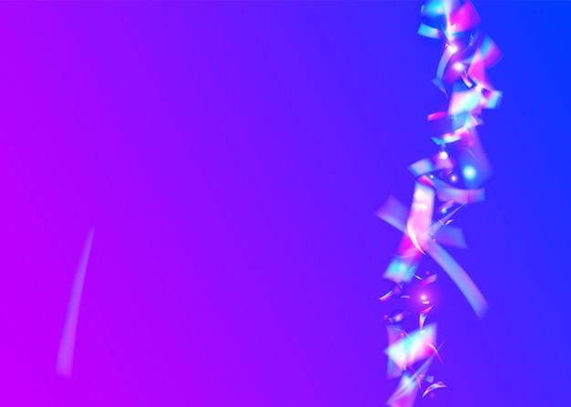 Caleidoscoop glitter. vallende confetti. fiesta folie. blauwe metalen schittert. fantasie kunst. neontextuur. feest vaporwave serpentine. glanzend ontwerp. paarse caleidoscoop glitter
