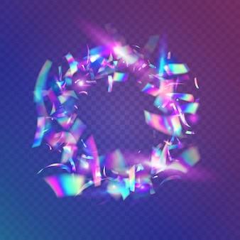 Caleidoscoop schittering. lichte schitteringen. glanzend abstract behang. holografisch effect. luxe kunst. disco-ontwerp. surrealistische folie. blauwe metalen confetti. violet caleidoscoop schittering