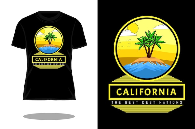 Californië bestemmingen retro t-shirtontwerp