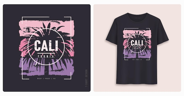 Californië. grafisch t-shirtontwerp, print in grunge-stijl.