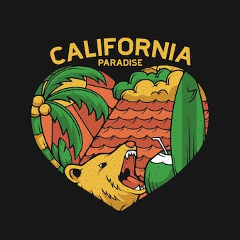 Californië liefde in zomer paradijs illustratie concept