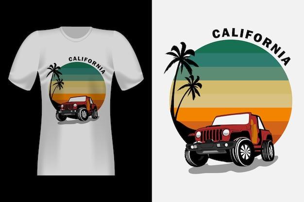Californië met jeep handgetekende vintage retro t-shirt design