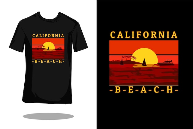 Californië strand silhouet retro t-shirt ontwerp