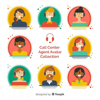 Call center agent-avatarcollectie met plat ontwerp