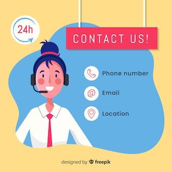 Call center agentontwerp in vlakke stijl