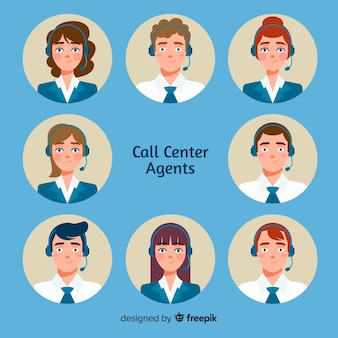 Call center avatars in vlakke stijl