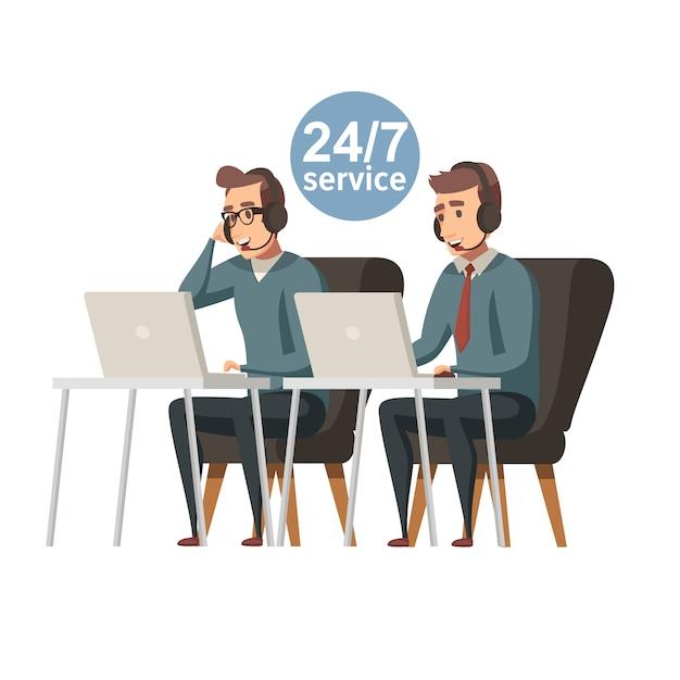 Call center illustratie. heb je een vraag . hotline professionele exploitanten van technische ondersteuning met headset werken op de computer. vector platte ontwerp illustratie. vierkante lay-out.