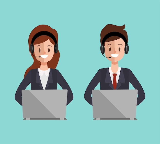 Call center karakter naar online communicatie service.