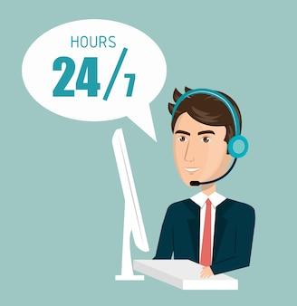 Call center klantendienst vector illustratie ontwerp