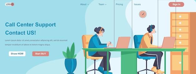 Call center ondersteuning contact met ons webbanner concept