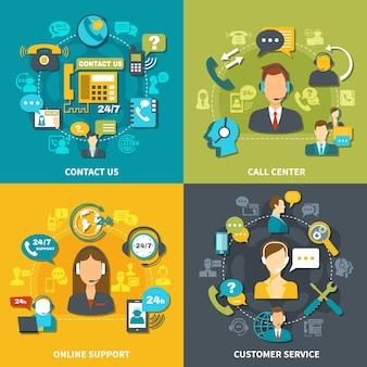 Call center ontwerpconcept met klantenservice, online ondersteuning 24/7, neem geïsoleerd contact met ons op
