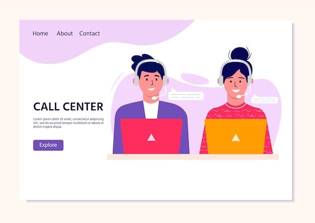 Call center operator bestemmingspagina voor web. glimlachend kantoorpersoneel met headsets stripfiguren. klantenondersteuning, hotline-operator, consultantmanager, klantenondersteuning, telefonische assistentie.