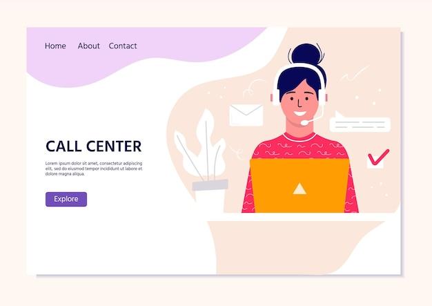 Call center operator landingspagina voor web. glimlachend kantoorpersoneel met headsets stripfiguren. klantenondersteuning, hotline-operator, consultantmanager, klantenondersteuning, telefonische assistentie.