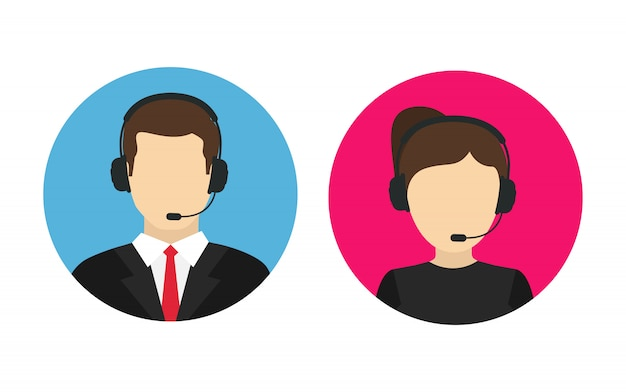 Call center operator mannelijk en vrouwelijk callcenter. vector
