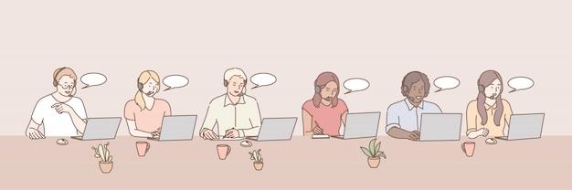 Call center werknemers instellen concept