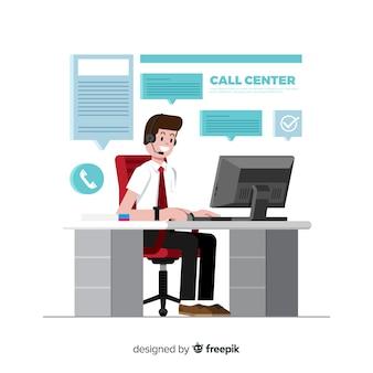 Call centre achtergrond platte ontwerp