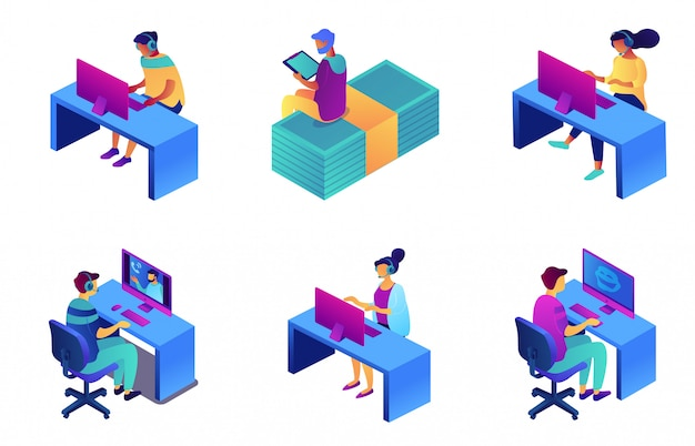 Call centreexploitanten in reeks van de hoofdtelefoon de isometrische 3d illustratie.