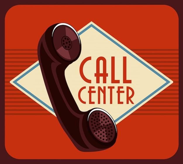 Call centreontwerp over bruine vectorillustratie als achtergrond