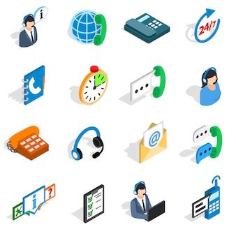 Call centrepictogrammen in isometrische 3d stijl. geïsoleerde reeks vectorillustratie van de telefoondienst de vastgestelde inzameling