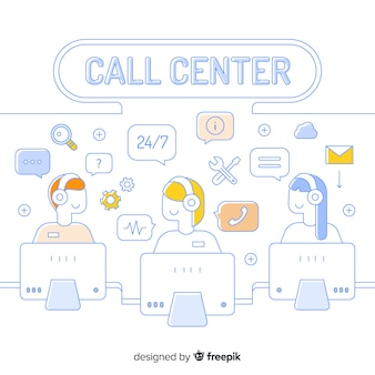 Callcenter in lineair concept