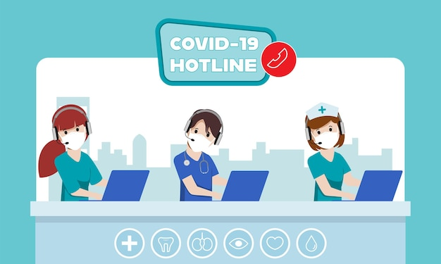 Callcenter noodhulp hotline om de patiënt te helpen en te ondersteunen tijdens de ziekte van covid19 Premium Vector