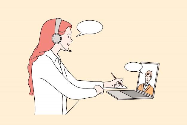 Callcenter, ondersteuning, zaken, hulp, communicatieconcept