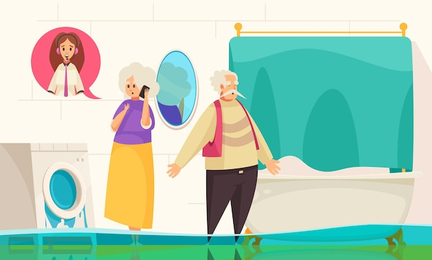 Callcenter online technische ondersteuning voor huishoudelijke apparaten met een waterlek in de wasmachine