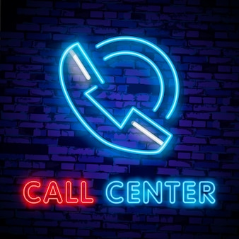 Callcenter operator neonlicht pictogram. ondersteunende dienst gloeiende teken.
