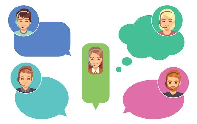Callcenter operators. ondersteuning avatars, online helpservice. schattige cartoon meisje jongen in tekstballonnen vectorillustratie. klantenhulplijn, man met headset