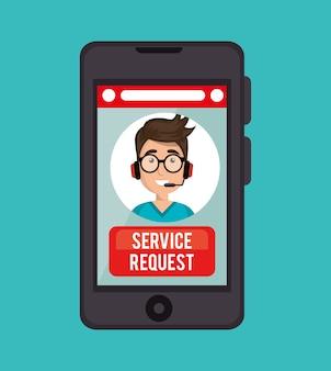 Callcenter serviceverzoek van guy operator online
