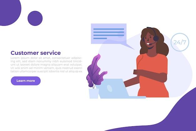 Callcenter sjabloon. klantenservice, hotline-concept. kantoorpersoneel met headsets, telemarketingagenten. vector illustratie